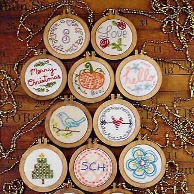 Mini Wooden Cross Stitch Hoop Ring Embroidery Circle Sewing  Frame Craft Nett