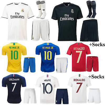 3-12 Yrs Kids Football Outfits Short Sleeve Jersey Home Away Kit Team Suit+Socks