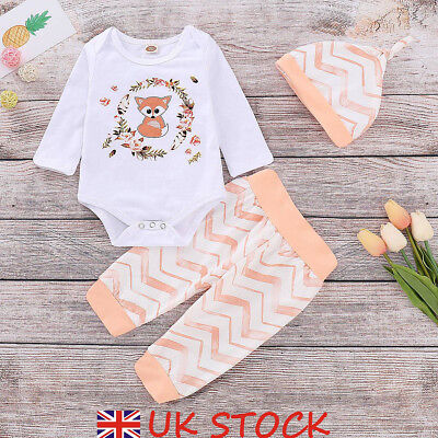 UK Newborn Baby Girls Floral Fox Clothes Romper Tops Pants Hat Outfit Set Casual