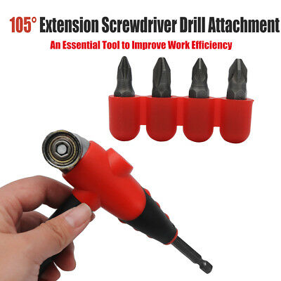 105 Degree Angle Extension Screwdriver Drill Attachment Set Socket Drill Adapter