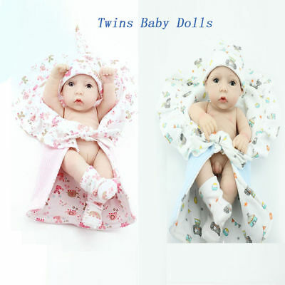 10'' Twins Baby Dolls Realistic Vinyl Silicone Mini Reborn Two Dolls&Two Clothes