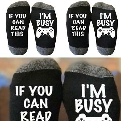 """IF YOU CAN READ THIS I'M BUSY"" Lustige Söckchen Gamer Socken Geschenk Nett I9V5"