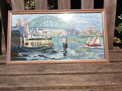 Needlepoint tapestry wool work boat picture