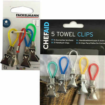 5 Towel Clips Tea Loop Hanger Kitchen Bathroom Decor Clip Holder Multi Clip Hook