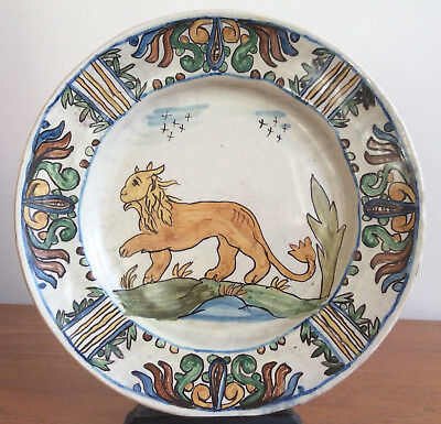 Early Antique Italian Polychrome Maiolica Delft Pottery Plate with Lion