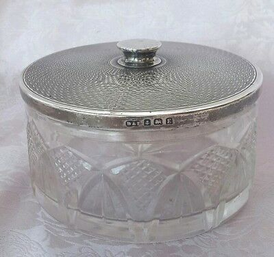 Art Deco, Cut Glass, Powder Puff Jar With Solid Silver, Mirrored Lid, 1929