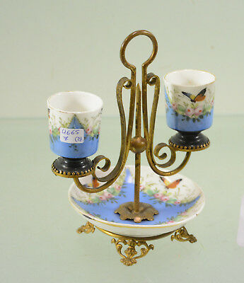 Antique 19thc French salt pots table in sevres porcelain butterfly bird rare