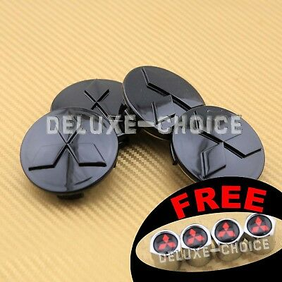 SET OF 4 BLACK FINISH ALLOY WHEEL CAP HUB CENTER for MITSUBISHI 60MM 2.25""