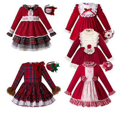 Toddler Kids Girls Dress Red Spanish Long Sleeve Formal Pageant Birthday Dress