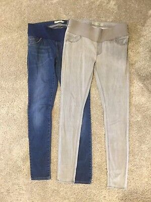 2x TOPSHOP MATERNITY LEIGH Skinny Jeans Under Bump UK Size 10. L34 Grey & Blue