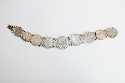 Faberge Antique Imperial Russian Silver 84 Coin Bracelet 19th Century