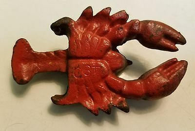 Antique cast iron red lobster paperweight nautical decor