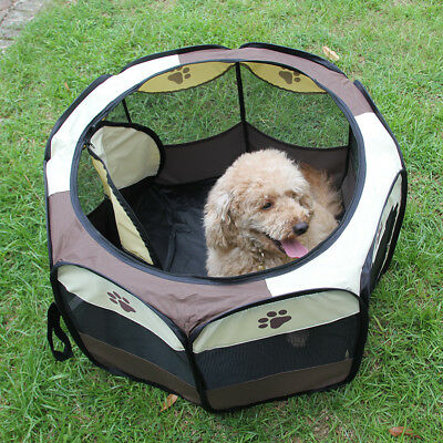 Pet Dog Cat Tent Playpen Exercise Play Pen Soft Fence Crate Portable Foldable