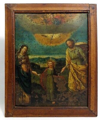 Early-Mid-19Th C Mexican Retablo Holy Trinity Framed Oil/copper Santo Painting