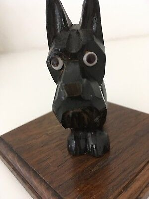 VINTAGE Antique HAND CARVED BLACK FOREST SCOTTIE DOG WITH GLASS EYES ART DECO