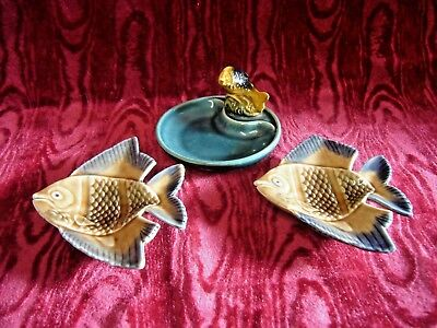 2 Vintage Wade Porcelain Angel Fish Small Dish Whimsies & Pin Dish with a fish