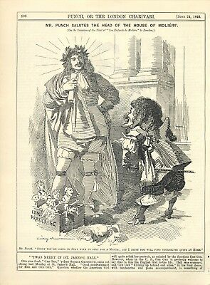 Mr. Punch Salutes The Head Of The House ~ Antique 1893 Punch Political Cartoon