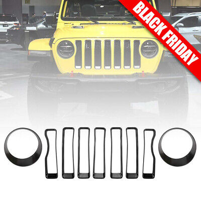 Matt Black Front Grill Insert Headlight Bezel Trim Covers for Jeep Wrangler JL