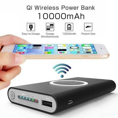 Portable 10000mAh Power Bank Phone Qi Wireless Charger For iPhone 8/X/XS Samsung