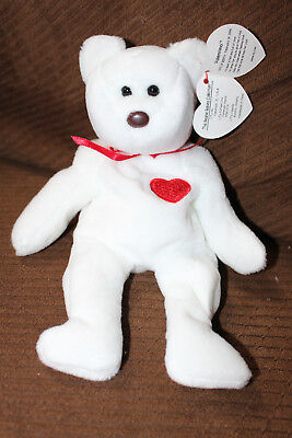 2908ffc63e0 TY Beanie Babies VALENTINO BEAR white bear NEW with tags retired NWT