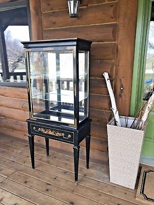 Vintage Black Painted Chinoiserie Small Curio Display Cabinet