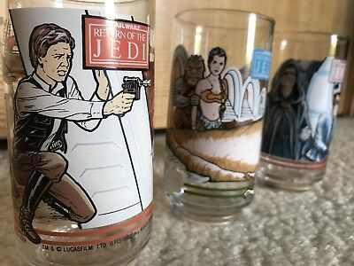 Vintage 1983 Star Wars Return Of The JEDI Glasses Set of 3 Coca Cola Burger King