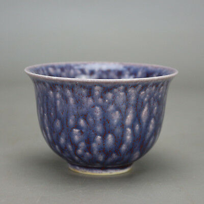 Chinese old hand-carved porcelain Blue glaze Kung fu tea cups wine glass b02
