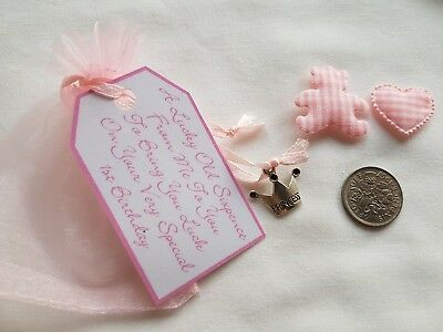 LUCKY SILVER SIXPENCE **BABY GIRL`S 1ST BIRTHDAY GIFT** with Teddy & Heart