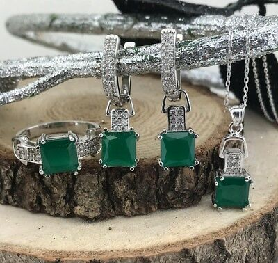 Handmade 925 Sterling Silver AAA Quality Jewelry Emerald Set