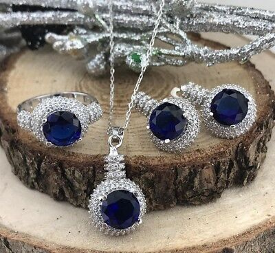 Handmade 925 Sterling Silver AAA Quality Jewelry Blue Sapphire  Set