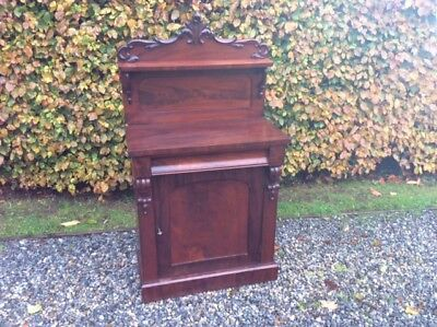 Mid Victorian Deep Flame Mahogany Short Chiffonier applied carved decoration