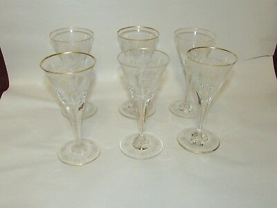 Set of Early Antique Engraved Wine Glasses Monogrammed