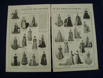 Antique -- 2 Pages --  A Century And A Quarter Of Gowns Worn By The First Ladies