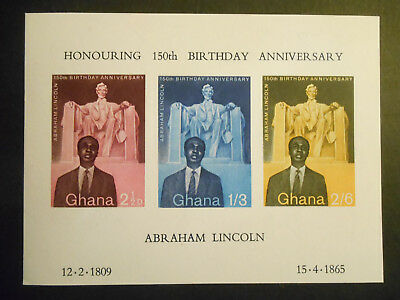 Ghana 1959 Abraham Lincoln Birth Anniversary SGMS206a 3 stamp imperforate MS MNH