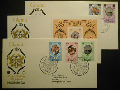 Ghana Royal Wedding Stamp FDCs 1981 & 1984 surcharged & MS Imperf (3 covers)