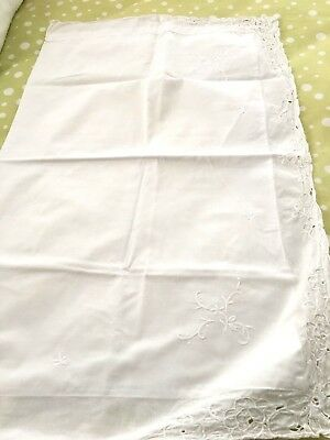 "TWO ANTIQUE WHITE COTTON PILLOW SHAMS 34""x22"" embroidery & open cutwork"