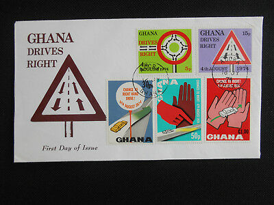 Ghana 1974 FDC Driving on the Right SG 721-724 Cars, Road Signs (see photos)
