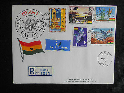 Ghana 1967 FDC Definitive issue: Lungfish, Rufous-crowned Roller, Akosombo Dam
