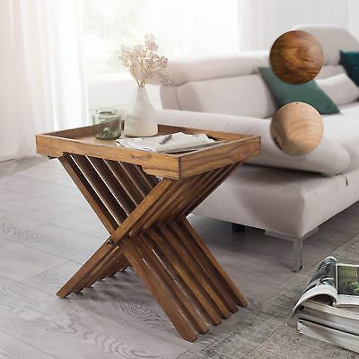 Finebuy Table Dappoint Pliable Bois Massif Table Basse Table