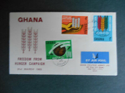 Ghana 1963 FDC Freedom From Hunger SG 300-2 Hands & Emblem, Wheat, Globe (photo)