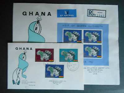 Ghana 1961 FDC x 2 Queen's Royal Visit full stamp set & MS; SG 271-3 & MS273a
