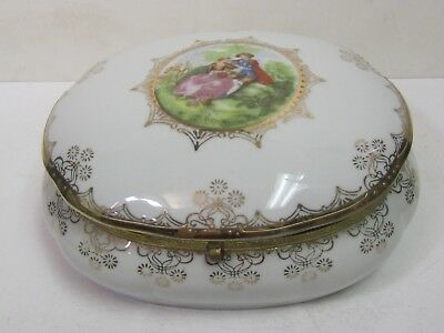 Vtg Royal Vienna Ceramic Porcelain Jewelry Trinket Box Hand Painted Gold Signed