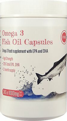 Omega 3 Fish Oil Capsules 1000mg 365 Softgels EPA DHA Year Supply High Strength