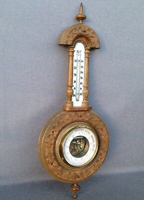 Big antique french barometer thermometer early 1900's made of wood black forest