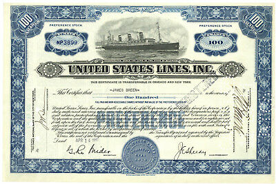 United States Lines,Inc. Stock Certificate 1931