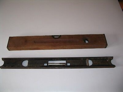 2 Vintage Stanley Levels, one Cast Iron and one Brass and Wood