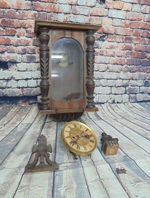 Vintage HAC Vienna German Wall Striking Clock Wooden Dial Used Spares Or Repair