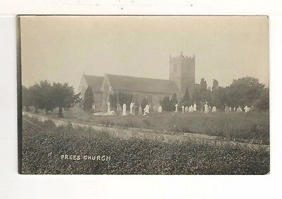 c1930 Real Photo Postcard: St Chad's Church, Prees, Shropshire, England