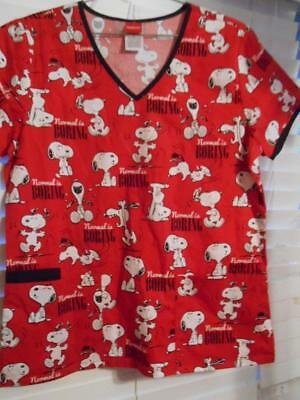 756473c2255 NWT Snoopy Normal is Boring PEANUTS Scrubs Top Size Small 3 Pockets  Tooniforms