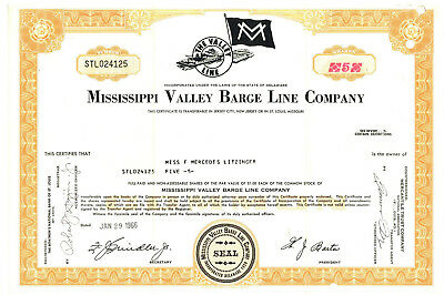 Mississippi Valley Barge Line Company. Stock Certificate 1966